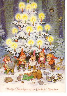 "Fritz Baumgarten ""Christmas"" postcard:  ""Prettige Kerstdagen en een Gulukkig Nieuwjaar"" one of three known postcards, possibly a set of four, gnomes decorating a Christmas tree in the forest"
