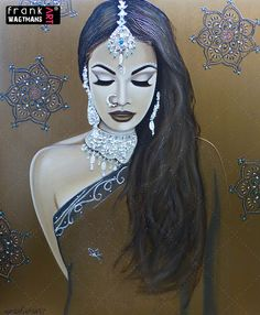 Large painting 'Sense of Mystery'. Beautiful portrait of an Indian Bride. 100 % hand made painting. Exclusive artwork. Contemporary Art by Frank Wagtmans.