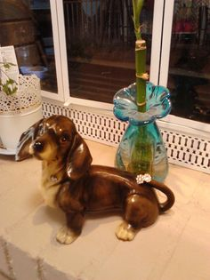 This CUTE Little Doxie came from Rescued Treasures...he had a chip in his tail...so Dee the store manager added some BLING to cover it up...he's my fav kind of dog...RESCUED AND NOT PERFECT