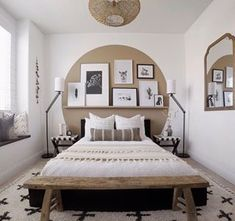 We 💕this boho look by Sporting one of our favorite rugs, the Alstead Area Rug and the coolest paint job we've ever seen, we ❤️ this bedroom to the 🌙 and 🔙! Home Decor Bedroom, Home Decor Inspiration, House Interior, Bedroom Makeover, Bedroom Decor, Home, Interior, Bedroom Inspirations, Home Decor