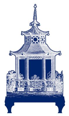 Wall Decal  PAGODA  Navy Blue  Size 45.3 x 82  A by gLaMaPeeL