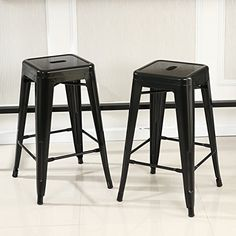 Belleze Set of 2 Backless Metal IndoorOutdoor Barstool with Square Seat 30 Black >>> Amazon most trusted e-retailer #Barstools