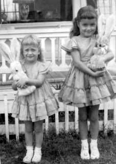 My sister and me...Easter in the 1950s. previous pinned. Lovely memory.
