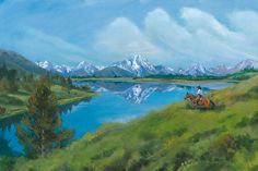 "Mount Moran Reflection by Nancee Jean Busse Acrylic ~ 24"" x 36""Original Wyoming Mountain Landscape Painting ""Mount Moran Reflection"" by Nancee Jean Busse, Painter of the American West,cowboy painting"