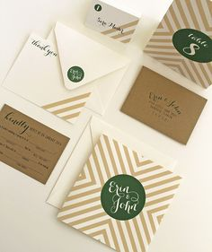 wedding invitation / emerald green + kraft /  afterhoursdesignstudio.com