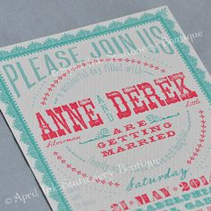 Red and Turquoise Vintage Woodcut Inspired Wedding by aprilink, $4.00