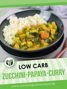 Dieses fruchtige Curry ist lecker, Low Carb, glutenfrei und gesund. Außerdem kommt es ohne Milchprodukte aus und ist so auch noch vegan. Das Rezept passt für jeden Tag und ist zu dem auch noch ohne Zucker. #lchf #keto #gesund #curry #abendessen #mittagessen Shirataki Reis, Lchf, Keto, Zucchini, I Love Food, Ethnic Recipes, Kitchens, Curry Recipes, Head Of Cauliflower
