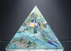 """Prisme"" original crystal sculpture by Ján Zoričák Glass Ceramic, Gustav Klimt, Wind Chimes, Glass Art, Perfume Bottles, Bohemian, Crystals, Antiques, Paper"