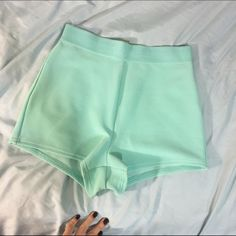 High Waisted Teal Shorts Stretchy material Shorts