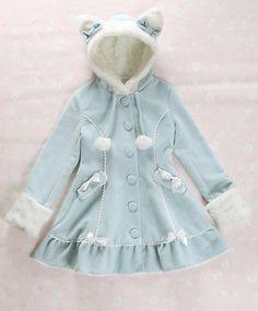 Cosplay Lolita Cat Kitty Ears Bowknot Moe Coat Mint Blue Liz Lisa Style | eBay