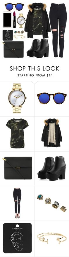 """04/02"" by macarana ❤ liked on Polyvore featuring Nixon, Samsung, Illesteva, Current/Elliott, Humör, Marni, Miss Selfridge, Topshop, Aéropostale and women's clothing"