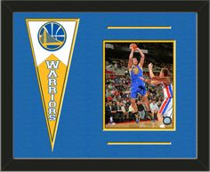 One framed 8 x 10 inch Golden State Warriors photo of David Lee with a Golden State Warriors mini felt banner, double matted in team colors to 20 x 16 inches.  The lines show the bottom mat color.  (Pennant design subject to change)  $79.99 @ ArtandMore.com
