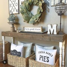 Inspiring for Rustic Living Room Wall Decor Design - My Little Think Wall Decor Design, Table Design, Room Wall Decor, Bedroom Wall, Master Bedroom, Bedroom Furniture, Furniture Design, Farmhouse Wall Decor, Farmhouse Chic