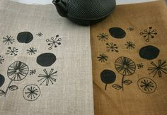 Screen+printed+LINEN+Sampler+WHIMSEY+FLOWER+by+mygypsycottage,+$14.00