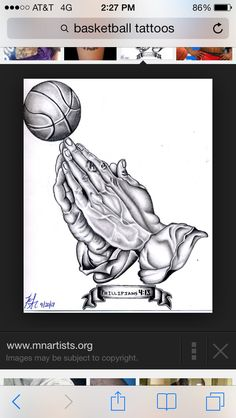My tattoo I'm getting! #praying #hands #basketball #phillipians #4 #13