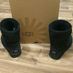 ❤️UGG boots❤️ Black UGG boots. Gently worn. Sat in my closet for a few years while I lived in FL. They still look excellent on! Fur inside isn't as soft as when you initially buy them. There is some fading on the back heel on both boots (as shown in the pics). These are typical signs of wear with these boots. I'm a size 6 1/2-7 and these fit me perfect. Only selling since I bought a new pair. UGG Shoes
