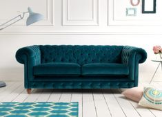 Amusing Dark Blue Upholstered Tufted Velvet Chesterfield Sofa On Top White Solid Wood Floor Design With Quality Furniture And Handmade Sofas of Chic Luxury Chesterfield Sofa With Latest Design For Inspiring Your Living Room Decor Ideas from Furniture Idea Sofa Set Designs, Sofa Design, Canapé Design, Velvet Sofa Set, Velvet Chesterfield Sofa, Velvet Tufted Sofa, Living Room Sofa, Living Room Furniture, Living Room Decor