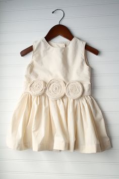 Flower Girl Dress with Rosettes KneeLength by SodaCitySewing
