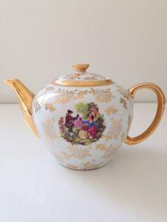English Fine Porcelain 4 Cup Courting Couple Teapot Victorian Tea Party
