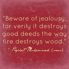 'Beware of jealousy, for verily it destroys good deeds the way fire destroys wood.' - Prophet Muhammad    --This is so true, jealousy destroys anything and everything.