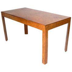 Clean Lined Italian Olive Burl Wood Desk