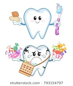 Ramadan kareem , healthy and unhealthy tooth, Toothbrush, nuts and Sweets Vector illustration