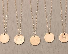 Personalized Disk Necklace  Custom Bridesmaids by LayeredAndLong