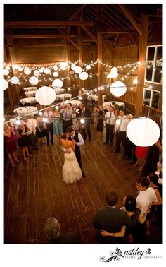 twinkle light and paper lanters barn wedding.