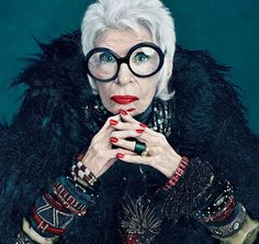 Iris Apfel is an American businesswoman, interior designer, and fashion icon.