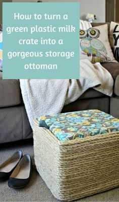 How to turn a green plastic milk crate into a gorgeous storage ottoman, waterproof fabric for outdoors Do It Yourself Furniture, Do It Yourself Home, Diy Décoration, Diy Crafts, Crate Crafts, Easy Diy, Furniture Makeover, Diy Furniture, Milk Crate Furniture