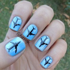 airplane nails art by polishcandies Sky Nails, Love Nails, How To Do Nails, Pretty Nails, Fabulous Nails, Perfect Nails, Nail Polish Art, Gel Nail Designs, Nails Inspiration