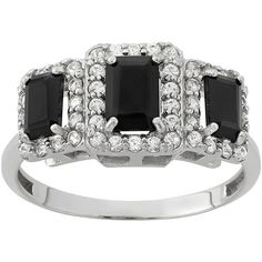Onyx & Lab-Created White Sapphire Sterling Silver 3-Stone Halo Ring... ($130) ❤ liked on Polyvore featuring jewelry, rings, black, onyx ring, sterling silver jewelry, sterling silver onyx ring, black diamond ring and round cut rings
