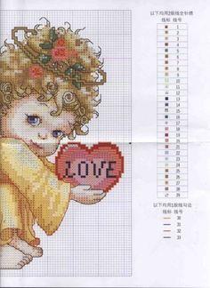 Angel 2 of 2 Cross Stitch Fairy, Cross Stitch Angels, Cross Stitch Heart, Cross Stitch Numbers, Cross Stitch Boards, Cross Stitch Designs, Cross Stitch Patterns, Cross Stitching, Cross Stitch Embroidery