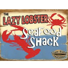 """Lazy Lobster Metal Sign: Kitchen Decor Wall Accent by OMSC. $14.99. Ships in Ploy-bag for complete protection. Eco-friendly process, hand-made in the USA. Glossy, full-color, enamalized imaged baked onto thick, 24-gauge steel. This sign measures 9"""" x 12"""" (225 mm x 300 mm). Rounded corners with holes for easy hanging. The """"Lazy Lobster Metal Sign"""" is hand-made in America. These sturdy metal signs will perfectly accent any kitchen, home, bar, pub, game room, office or garage. Ea..."""