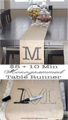 DIY Projects with Burlap and Creative Burlap Crafts for Home Decor, Gifts and More | Monogrammed Table Runner | http://diyjoy.com/diy-projects-with-burlap #DIYHomeDecorProjects