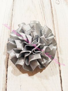 2 Piece Grey Satin Puff Flowers by IsellusDesigns on Etsy
