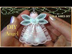 Ангел из лент/Christmas Kanzashi Angel Tutorial/DIY Satin Ribbon Angel/A. Christmas Angel Crafts, Christmas Sewing, Christmas Ribbon, Christmas Crafts, Christmas Gingerbread, Ribbon Art, Diy Ribbon, Ribbon Crafts, Flower Crafts