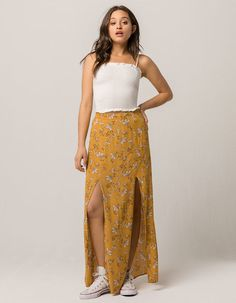 12c05ff1ac4fb SKY AND SPARROW Floral Womens Maxi Skirt - MUSTA - 322623620