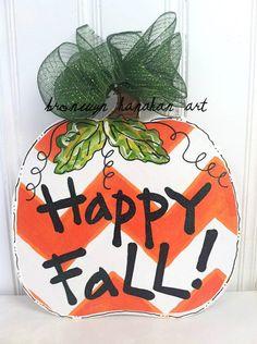 Chevron Pumpkin Door Hanger  Bronwyn Hanahan by BronwynHanahanArt, $35.00