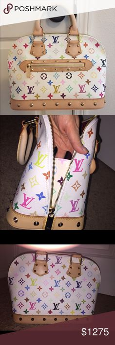 Louis Vuitton Monogram Multicolor Alma PM This authentic Louis Vuitton Alma Monogram Multicolor PM is a beautiful bag that you can dress up or down. Designed in Takashi Murakami's famous white monogram multicolor print coated canvas.  Structured dome-shape bag features dual-rolled handles, exterior zip pocket, studded detailing, natural cowhide leather trims, vachetta leather base & gold-tone hardware. Two-way zip around closure opens to burgundy microfiber-lined interior w/slip pocket…