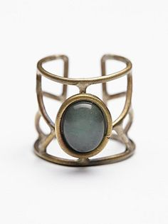 Caged Cuff Ring | Open-back metal cage ring with a statement stone.  *By Free People