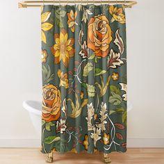 Yellow Shower Curtains, Orange Curtains, Dark Curtains, Bathroom Shower Curtains, Fabric Shower Curtains, Eclectic Bathroom, Boho Bathroom, Vintage Bathrooms, Bathroom Ideas