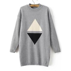 Grey Triangle Pattern Drop Shoulder Sweater Dress (1,620 DOP) ❤ liked on Polyvore featuring dresses, tops, long-sleeve mini dress, geometric print dress, grey long sleeve dress, long-sleeve maxi dresses and print dress