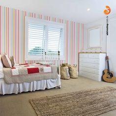 Listras estão sempre na moda! Com o Adesivo de Parede Lovely seu quarto fica mais alegre e romântico.  #adesivo #decor #quarto #listras #adsiveshop