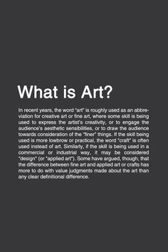 WHAT IS ART? [1/3] #typography #typographyposter #philosophy