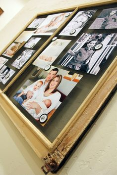 She used magnets to hold the pictures onto the screen!  Easy idea!