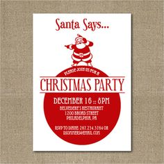 Printable Christmas party invitation by chachkedesigns on Etsy