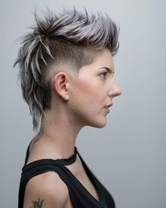 Mohawk With Mullet ❤️ Androgynous haircuts have walked the line between femininity and masculinity thus becoming the hottest trend of now. Dive in our gallery to see what ideas are popular today! Short pixie cuts, underc Source by Short Hair Undercut, Undercut Hairstyles, Short Hair Cuts, Pixie Cuts, Short Pixie, Punk Pixie Haircut, Undercut Styles, Undercut Women, Short Punk Hairstyles