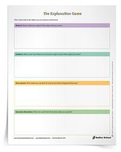 The Explanation Game Visible Thinking Routine; A Professional Development Series
