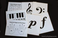 FREE music-related printables from Color in My Piano.